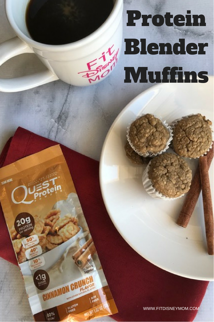 The easiest cinnamon crunch protein muffins! Gluten free, this recipe takes less than 30 minutes to make and packs tons of protein to start your day.  #BlenderMuffins #Breakfast