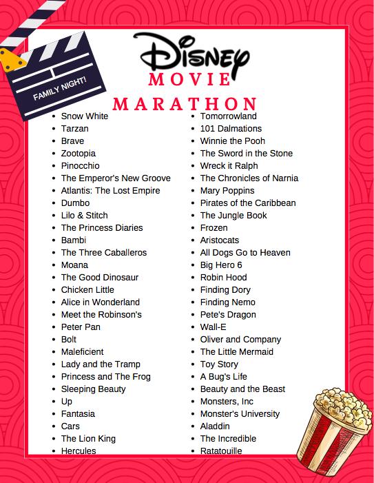 Free Printable Disney Movie Marathon List   Savvy Mama ...