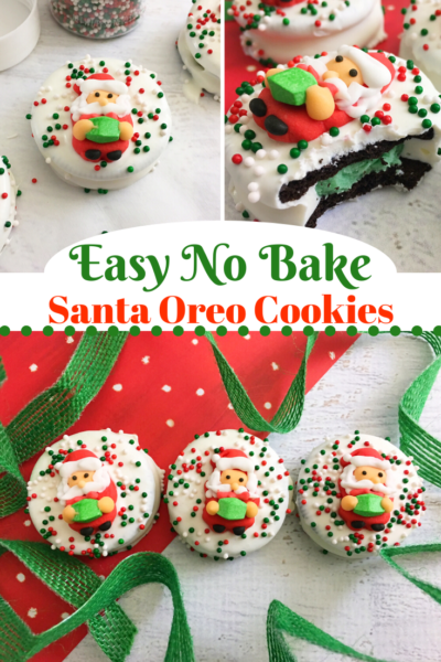 These no-bake Christmas cookies are so easy. They're adorable Santa Oreo cookies that everyone loves. #Christmas #ChristmasCookies #NoBake #NoBakeChristmas #HolidayBaking #Oreos