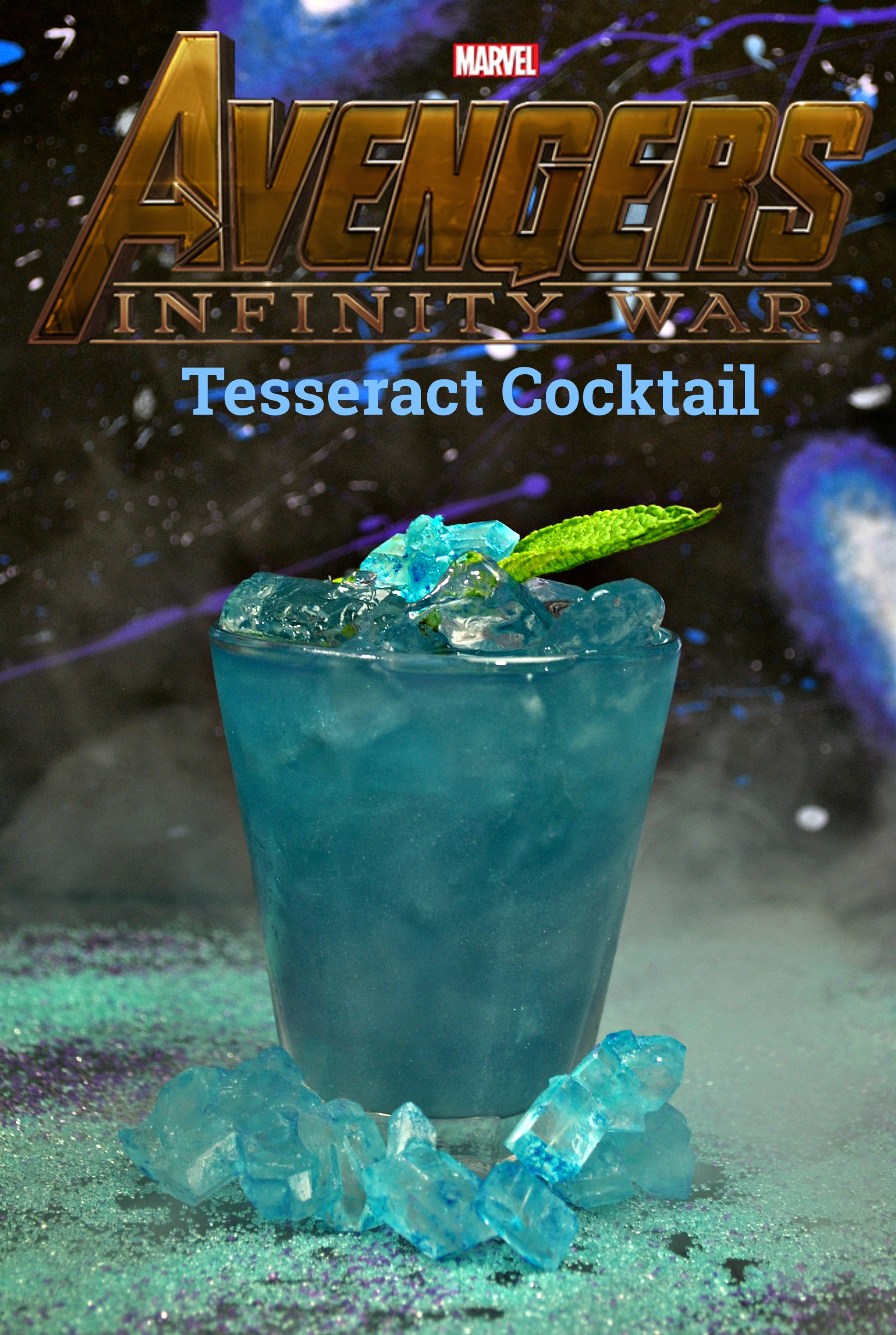 This super hero drink recipe is Avengers: Infinity War themed. The non-alcoholic drink is blue to represent the tesseract. #Superherodrink #Avengers #mocktailrecipe