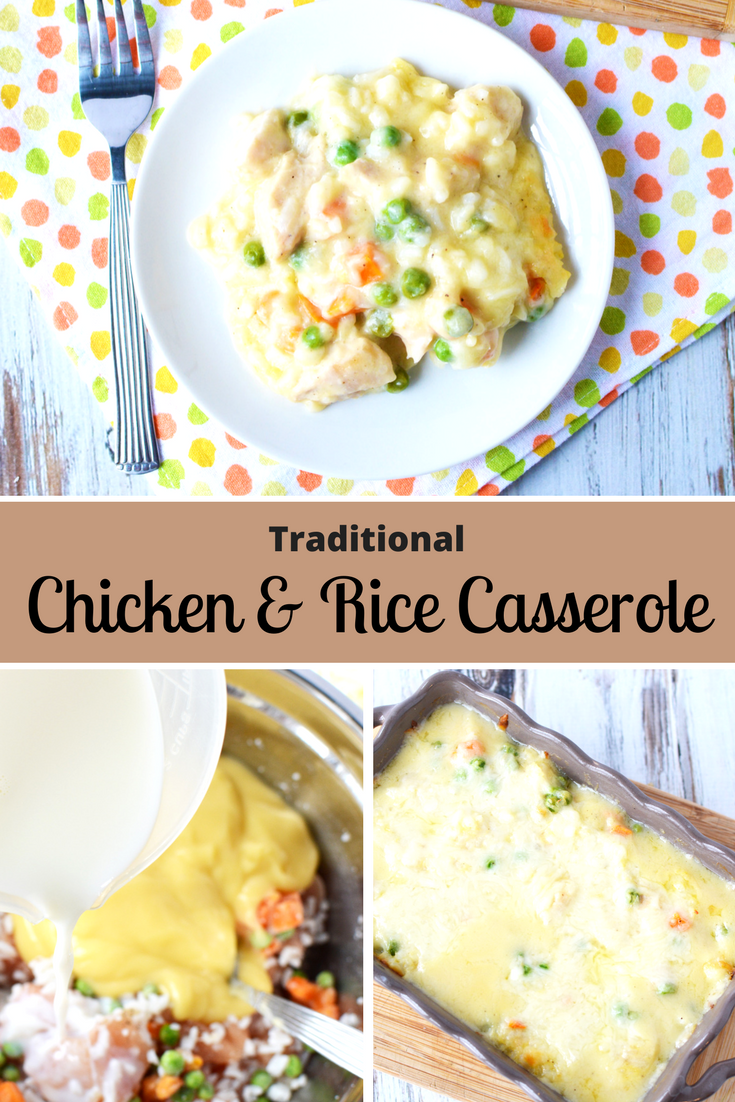This traditional Chicken and Rice Casserole is a popular weeknight dinner idea that's perfect for a hearty Winter meal. It's so easy to make, you'll crave it all year round though. #Casserole #Dinner