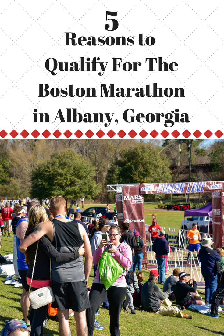 Want to qualify for Boston? See why the Snickers Marathon, in Albany Georgia, is one of the best races for that. It's been voted in the top 10 races for people to qualify because it's FLAT and FAST. #BostonMarathon #RunningTips #CompetitiveRunning #Running