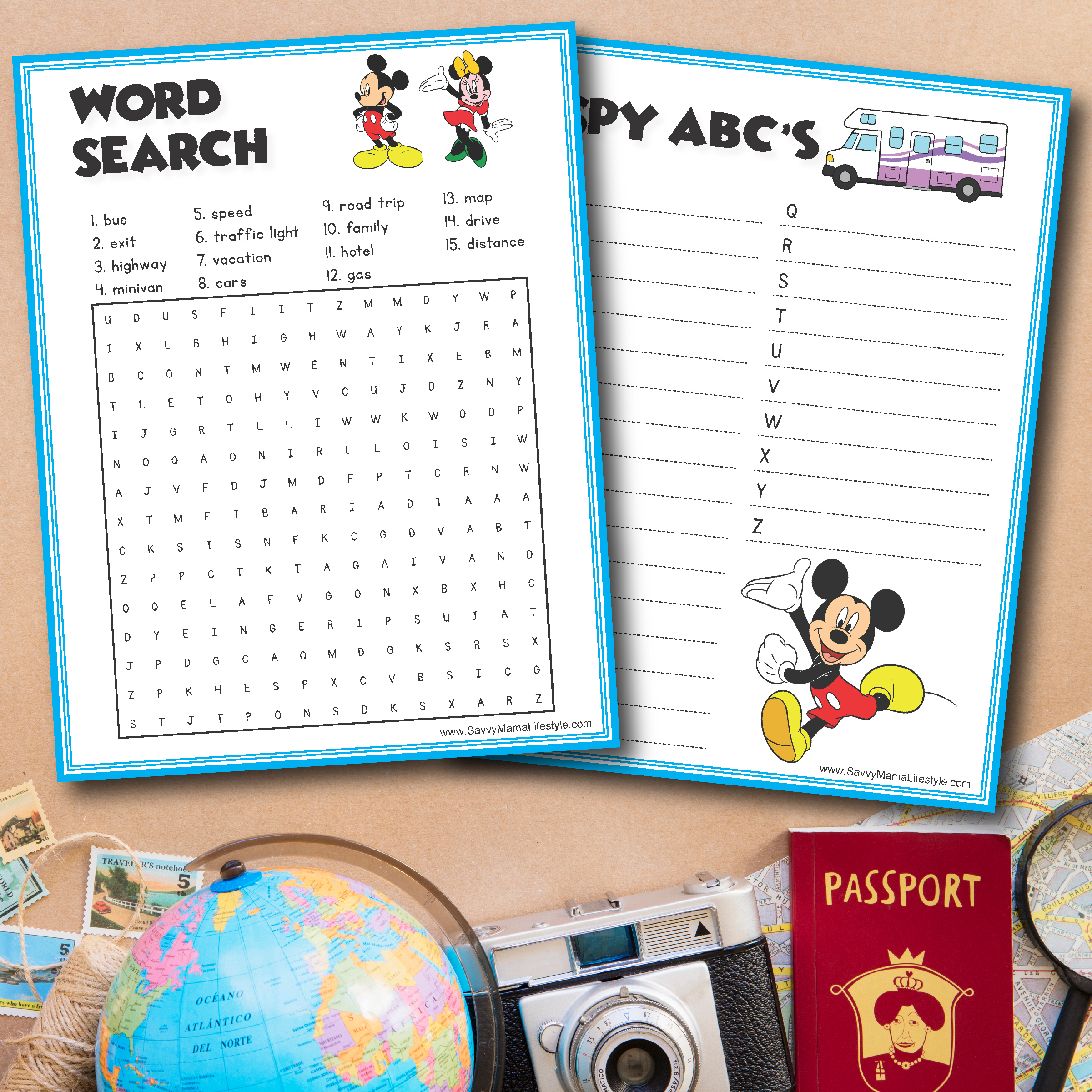 Disney Road Trip Games, Free Printable Disney Road Trip Games, Disney Road Trip Activities