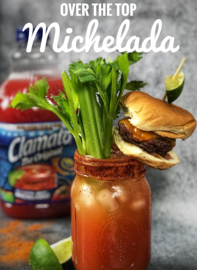 This twist on a classic Michelada recipe takes it to the next level! Your guests will love this Cheeseburger Michelada cocktail. #cocktailrecipe #Michelada #MicheladaRecipe #MexicanCocktail #RedCocktails #BloodyMary #MexicanBloodyMary