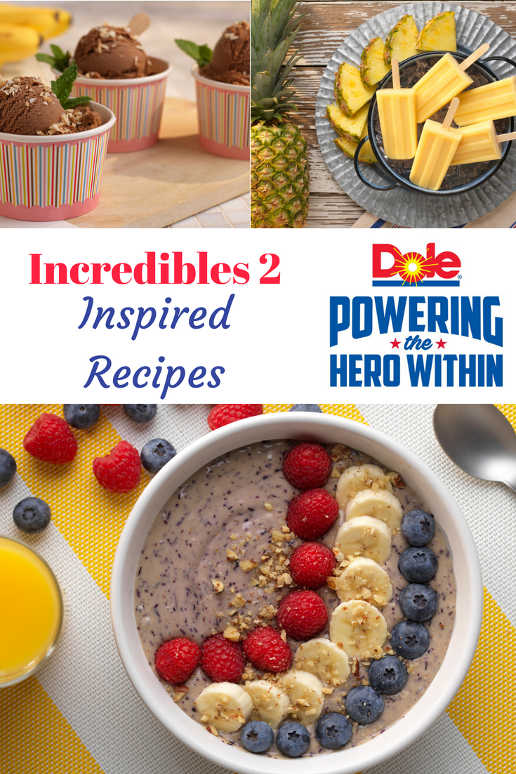 Find delicious recipes inspired by Incredibles 2 movie that feature fresh DOLE fruit and vegetables, to power the hero within.