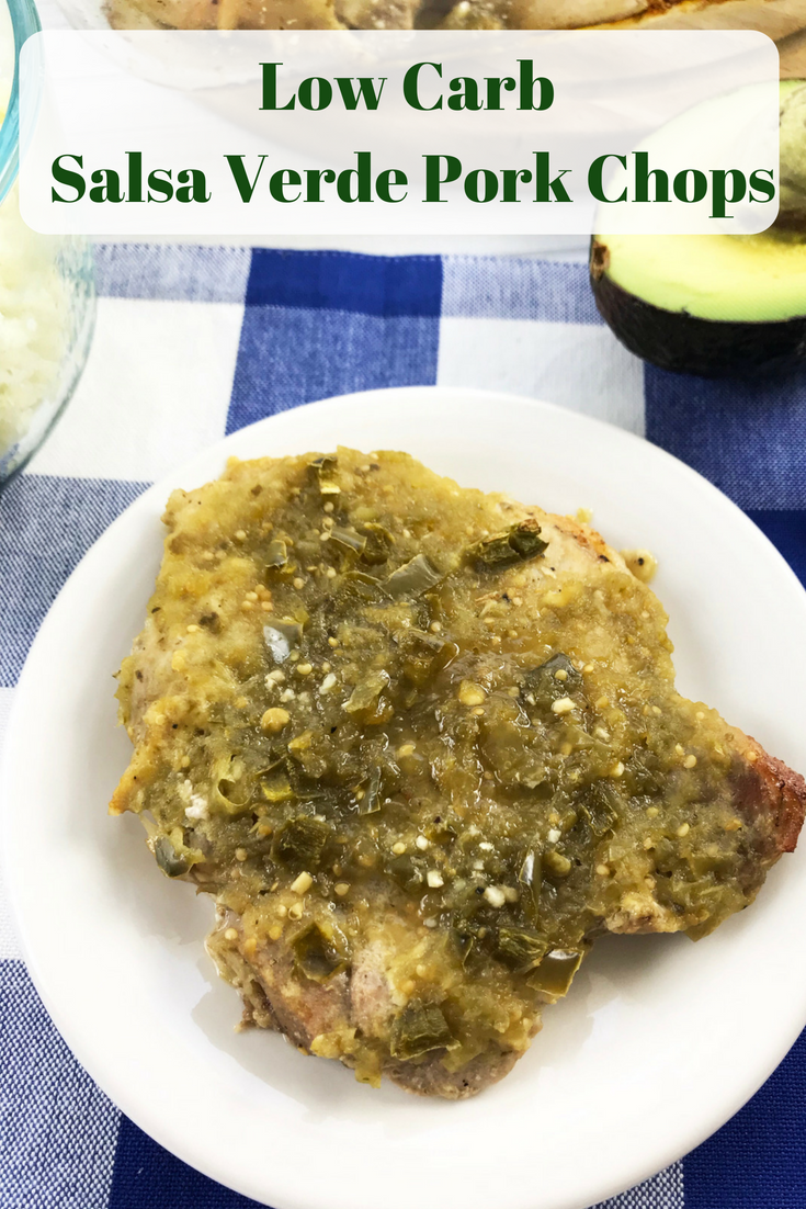 Need a low carb dinner idea? This keto-friendly salsa verde pork chops recipe is done in under 30 minutes and tastes great. #porkrecipes #dinner #ketorecipe #keto #ketodiet #lowcarb #lowcarbrecipe