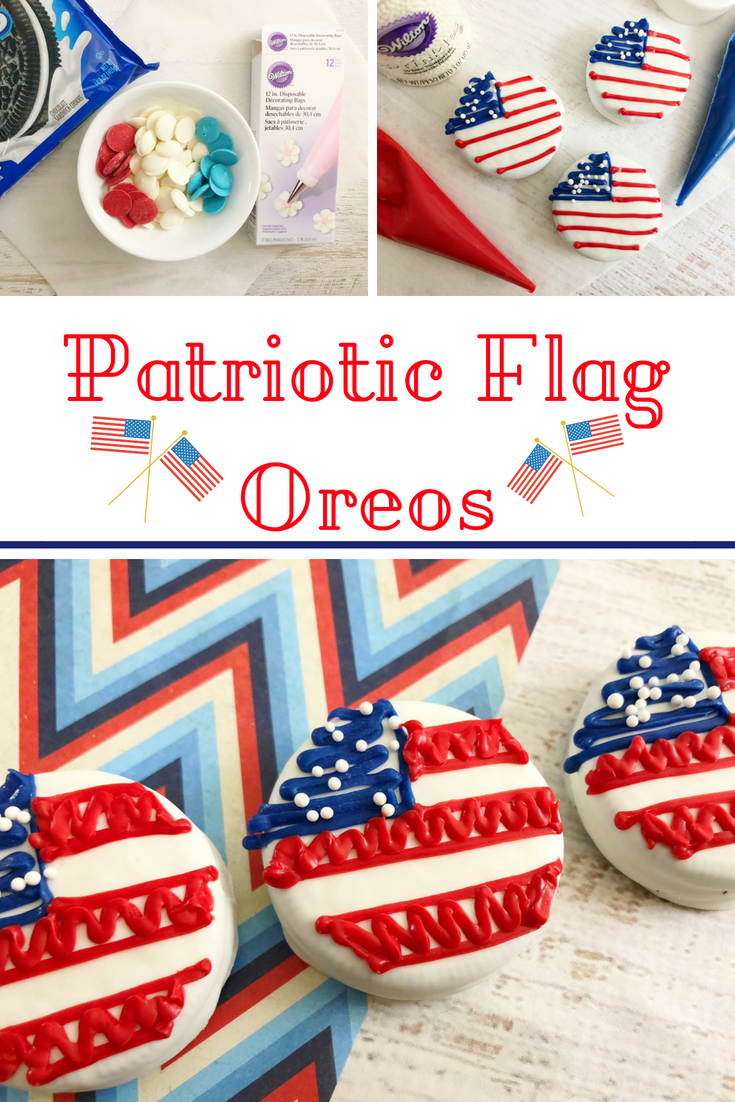 This is the cutest 4th of July dessert! These patriotic flag Oreos are easy to make and everyone loves them. #4thofJuly #patrioticdessert #dessert