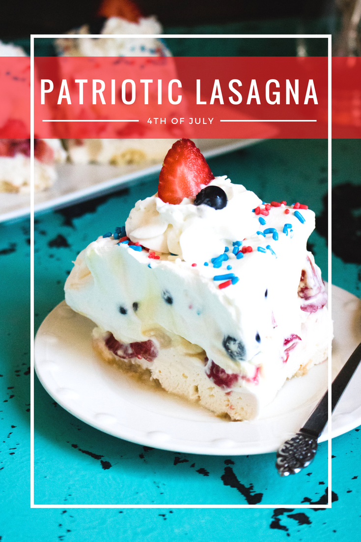 Need a patriotic summer dessert? This red, white and blue lasagna is perfect for a party and has a delicious creamy texture. You won't have any leftovers because everyone loves it! #4thofjulydessert #patrioticrecipe #4thofjuly #summer #summerdessert #patriotic