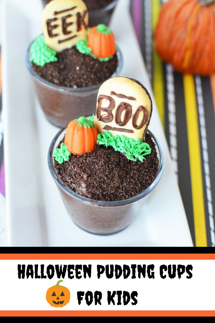 These chocolate pudding cups are the perfect Kid's halloween dessert and come together quickly without any baking. Perfect for a party too! #Halloween #HalloweenRecipe #HalloweenDessert #KidsDessert #Pudding