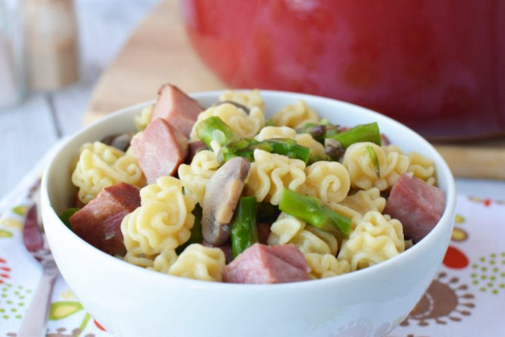 ham and asparagus one pot meal, one pot dinner, one pot pasta