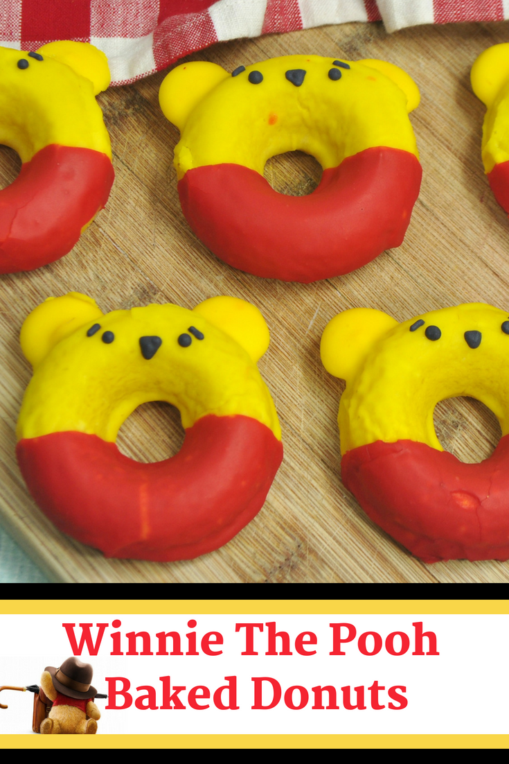 This adorable Winnie The Pooh Donut Recipe is the perfect excuse to get baking with the kids! Celebrate the upcoming release of Disney's Christopher Robin and enjoy a yummy treat! #ChristopherRobin #WinnieThePooh #DisneyRecipe #DisneyMovie