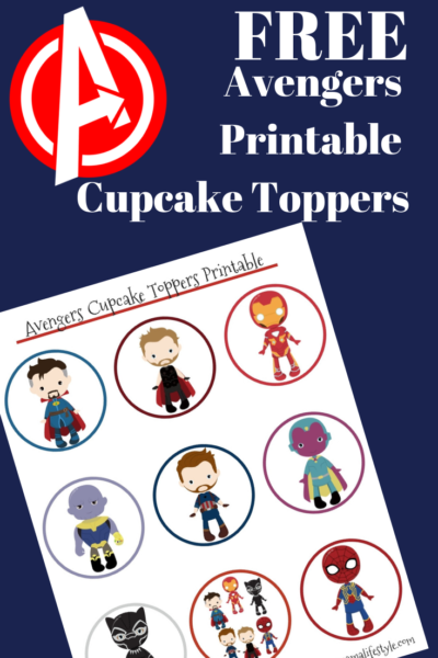 These Avengers Cupcake Toppers are perfect for your themed party or movie night. Print them for FREE and use a toothpick to place on your cupcake. #Avengers #Marvel #MarvelCrafts #MarvelMovies
