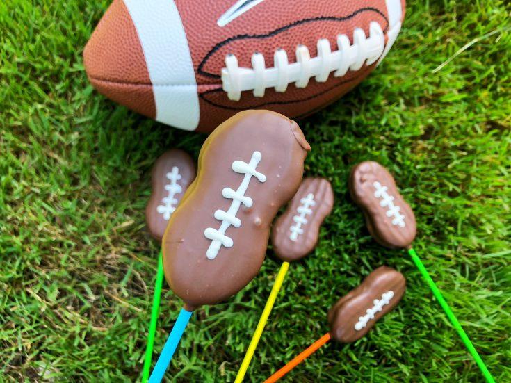 Football shaped lollipops