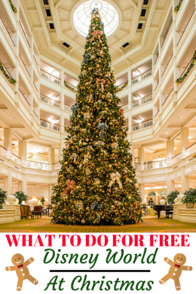 Disney World FREE Christmas activities that anyone can enjoy! From resort hopping to see Christmas decor to Disney Springs events, there is plenty to do without breaking the bank. #Disney #DisneyWorld #WaltDisneyWorld #HolidayTravel #FamilyTravel #ChristmasAtDisney #Christmas