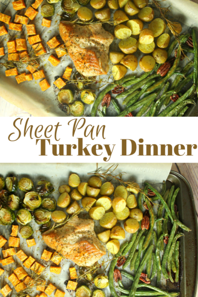 Make Thanksgiving easy with this sheet pan turkey dinner! Your vegetables and turkey bake at the same time. Plus, great tips for using it as leftovers. #Thanksgiving #ThanksgivingTurkey #EasyThanksgiving #TurkeyDinner #Dinner #DinnerRecipe #FamilyRecipe #VegetableRecipes