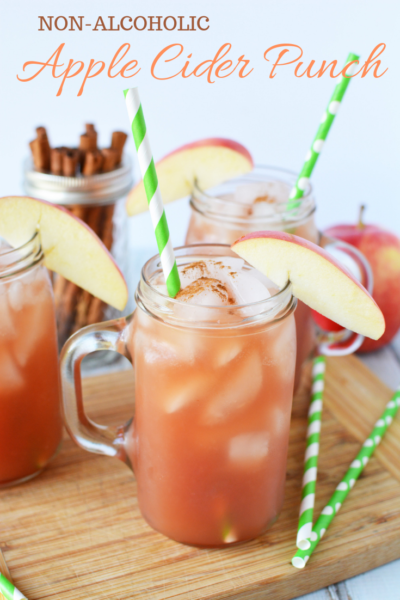 This Non-Alcoholic Apple Cider Punch is perfect as a fall treat or to serve at the Thanksgiving kids table. Of course, you can also make a larger batch to divide and add alcohol too. #Fall #Thanksgiving #ThanksgivingPunch #PunchRecipe #FallPunch #AppleCider #AppleRecipe