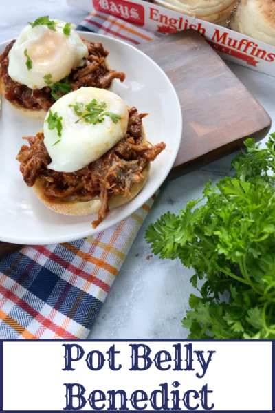 Keep brunch exciting with this twist on the classic: Pot Belly Eggs Benedict features pulled pork, a poached egg and hollandaise sauce over a Bay's English Muffin. Simple and delicious! #AD #BetterWithBays