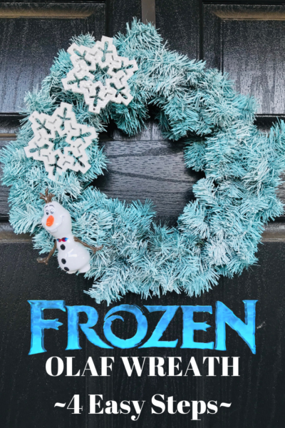 This cute Frozen Inspired Olaf Wreath Craft costs under $15 to make and it's a beginner craft with 4 easy steps. Perfect for the holiday season! #FrozenCraft #DIsneyMovieCraft #Frozen2 #Olaf #DisneyMovies #Wreath #DIY #WreathCraft