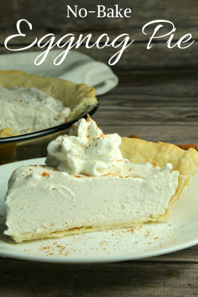 Make this No-Bake Eggnog Pie recipe is a foolproof Christmas dessert recipe. Our family loves the rich and creamy texture with a flaky crust. #ChristmasDessert #Christmas #Eggnog #EggnogRecipe #Dessert #DessertRecipe #Pie #Thanksgiving #HolidayDessert