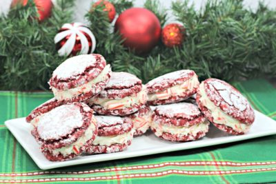 Red Velvet Stuffed Cookies, Red Velvet Cookies, Red Velvet Christmas Cookies, Red velvet Sandwich cookies with peppermint