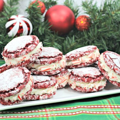 Red Velvet Stuffed Cookies With Peppermint Crunch | Christmas
