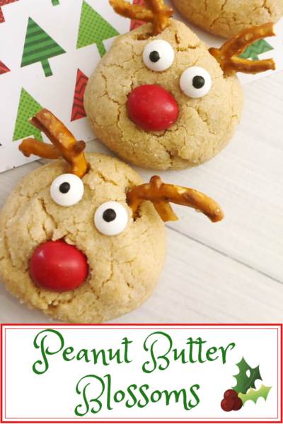 Make these easy Christmas cookies with the kids. These are soft peanut butter blossoms with cute reindeer faces. #ChristmasCookies #ChristmasBaking #CookieExchange #ChristmasTreats #Baking #Cookies #CookieRecipes