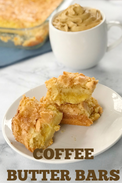 These rich and creamy coffee butter bars are simply devious! Made with a yellow cake crust bottom and cream cheese coffee top layer. #Dessert #DessertBars #CoffeeCake #ButterBars #ButterCake