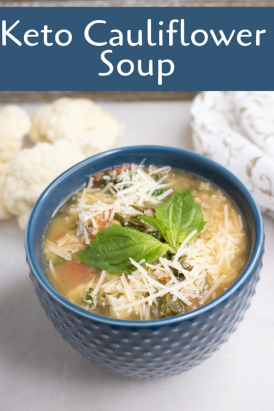 On a Keto Diet? This low carb cauliflower soup recipe is warm and comforting without the added carbs. #Keto #KetoDiet #LowCarb #Soup #SoupRecipe #LowCarbSoup #WinterSoup