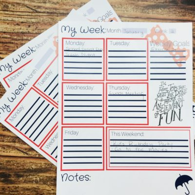 FREE Printable Weekly Planner Inspired By Mary Poppins Returns