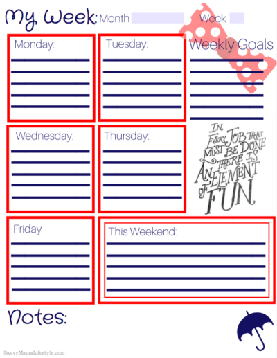 FREE Printable Weekly Planner, Mary Poppins Planner, Mary Poppins Returns, Mary Poppins Returns Printable
