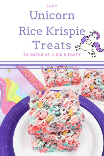 These unicorn Rice Krispies treat dessert bars are perfect for a kid's party or a special after-school snack! #unicorndessert #Unicorn #RiceKrispies #FruitLoops