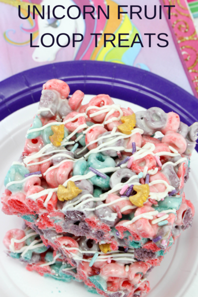 These Unicorn Fruit Loop Treats are the perfect dessert for any occasion! I love making them for a kid's unicorn birthday party or a special after-school snack idea! #Dessert #KidsDessert #UnicornDessert #UnicornIdeas #BirthdayPartyIdeas