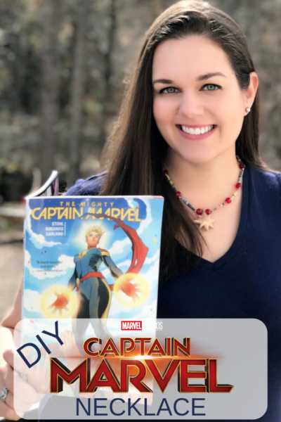 DIY Captain Marvel Necklace: made with upcyled comic book pages, this superhero craft is perfect for teens! The beads are hand-rolled and you can customize with your favorite colors. #SuperheroCraft #CaptainMarvel #DIY #JewelryMaking #MarvelStudios