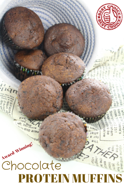CHOCOLATE PROTEIN MUFFINS: This award-winning recipe is the secret to boosting your protein intake in a delicious way! Perfect for snacks or breakfast