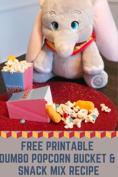 Print these FREE Dumbo popcorn buckets and make this Dumbo inspired recipe snack mix! #Dumbo #DisneyMovies #DisneyMovies #Printables #FreePrintables