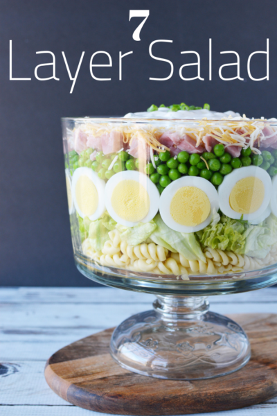 Grandma's 7 Layer Salad: A fresh salad that's perfect as an Easter leftover recipe or during the hot months for lunch. #Salad #SaladRecipe #7layersalad #sevenlayersalad #springrecipe #easter #easterrecipe