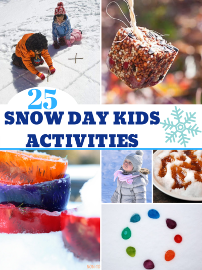All of the BEST snow day kids activities in one spot! From beating boredom inside to creative play for all ages outside. #SnowDay #SnowActivitiesForKids
