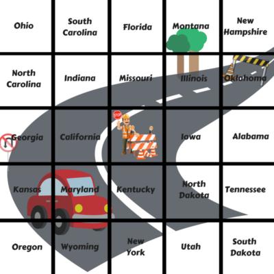 Printable Travel Bingo For Kids, Road Trip Bingo Cards, Kids Road Trip Games, License Plate Game