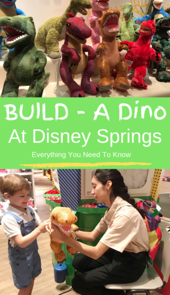 Everything you need to know about the Build-A-Dino Workshop at Disney Springs, including price information! #DisneySprings #DisneyWorld #WaltDisneyWorld #FamilyTravel #Disney #WDW #DisneyTips
