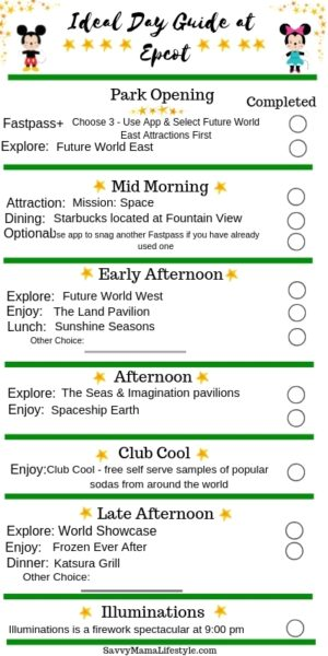 EPCOT PARK ITINERARY: Print this FREE guide to Disney's Epcot to help plan your perfect park day! #Epcot #DisneyWorld #DisneyTips #DisneyVacation #DisneyGuide #WaltDisneyWorld #EpcotTips