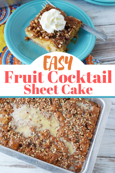 Fruit Cocktail Sheet Cake: This dump cake is super easy, moist and a delicious option with coffee. Just make a batter with 1 can of fruit cocktail and bake! #FruitCocktailCake #FruitCocktail #Baking #DumpCake #EasyCakeIdea #SheetCake #CoffeeCake