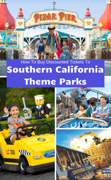 Want to save money on your California travel plans? Here's how to save money and purchase discounted Southern California theme park tickets. #FamilyTravel #California #Disneyland #Disney #Legoland #SeaWorld #UniversalStudiosHollywood #SoCal #Travel #TravelTips