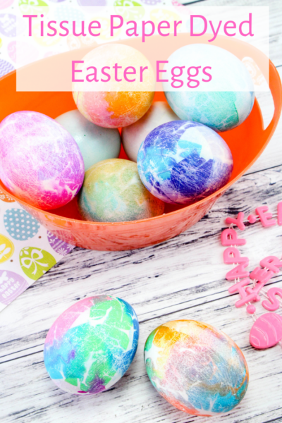 Creative Easter Egg Dying: This tissue paper dyed egg method is vinegar-free and great for kids! #Easter #EasterEgg #EggDying #EasterCrafts #KidsCrafts #SpringCrafts