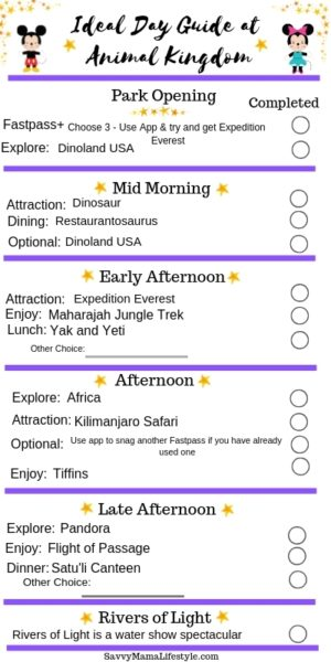 Animal Kingdom Itinerary Guide: Print this free itinerary so you can plan your ideal Animal Kingdom park day at Disney World. Don't miss out on these fun attractions! #AnimalKingdom #waltDisneyWorld #DisneyWorldPlanning #DisneyTips