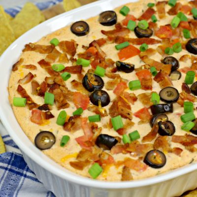 The Yummiest Hot Bacon Cheddar Dip With Cream Cheese