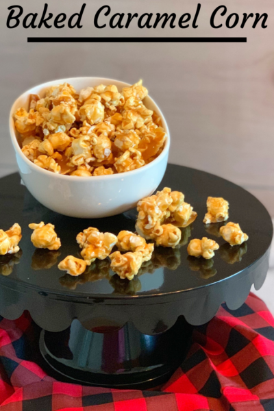 Baked Caramel Corn: So much easier than you think and much better tasting than store bought! This recipe is caramel corn without corn syrup - perfect as a DIY Holiday Gift Idea for snacking! #CaramelCorn #BakedCaramelCorn #HolidayGift #DIYHolidayGift #BakedHolidayGift #SnackRecipe