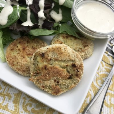 Oven Baked Fried Green Tomatoes With Horseradish Sauce