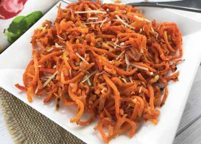 Carrot spirals side dish, carrot spirals side dish recipe, low carb carrot recipe, low carb pasta alternative
