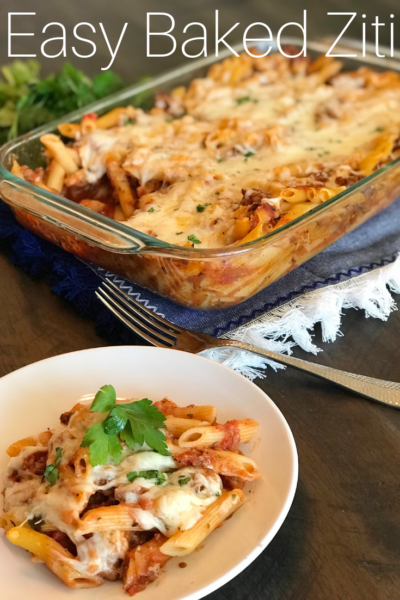Easy Baked Ziti: This classic Italian baked ziti casserole with sausage will be a hit in your home! Just bake until bubbly and enjoy with bread. #Italian #Italianrecipe #Pasta #Casserole #BakedZiti #italianfood #ItalianRecipe #Dinnerideas