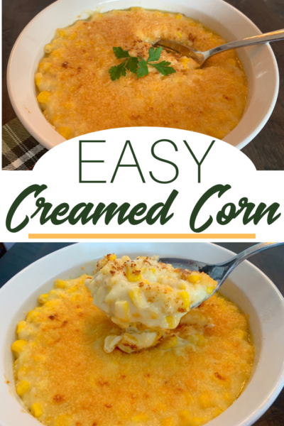 Creamed Corn Recipe: This classic Thanksgiving side dish recipe is creamy & delicious! It's baked to perfection with parmesan and butter on top. #CreamedCorn #Thanksgiving #ThanksgivingSideDish #Corn #SideDish #VegetableRecipe